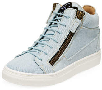 Giuseppe Zanotti Denim Mid-Top Sneakers, Toddler/Kids