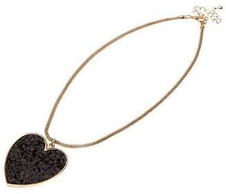 Adele Marie Base Metal Snake Chain Black Glitter Heart Charm Necklet of 49.5cm
