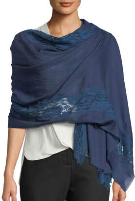 Bindya Accessories Blue Tonal Turn Lace-Trim Stole
