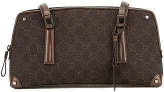 Gucci Brown Leather GG Canvas Small Shoulder Bag (Pre Owned)