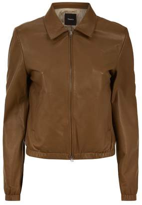 Theory Staple Leather Bomber Jacket