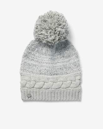 Express Cable Knit Feathered Pom Beanie