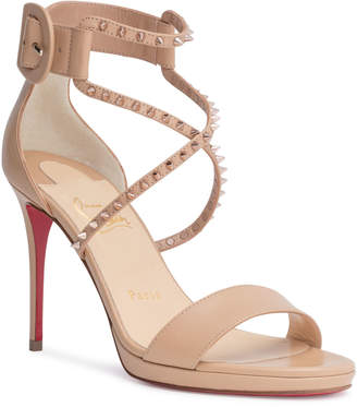Christian Louboutin Choca 100 beige leather stud sandals