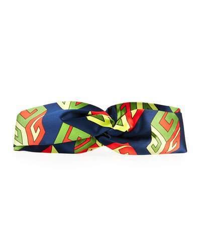 GucciGucci GG Wallpaper Silk Duchesse Headband, Navy