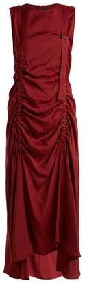 Joseph Hall Ruched Detail Sleeveless Dress - Womens - Burgundy