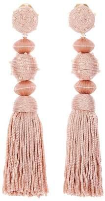Oscar de la Renta Dot Ball Tassel Clip On Earrings