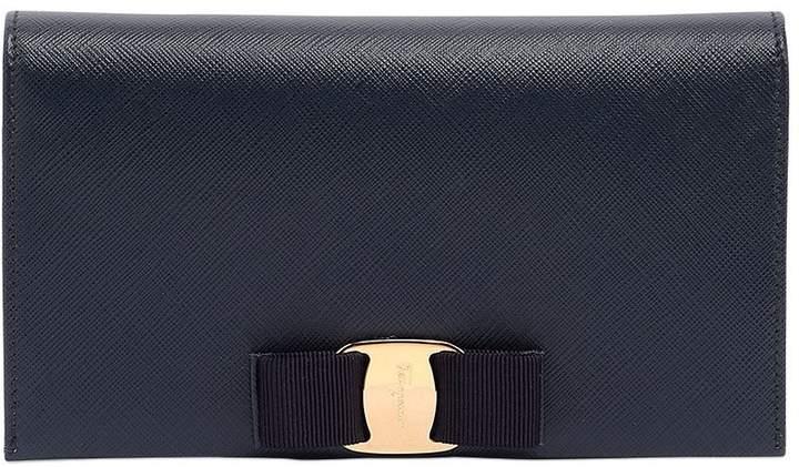 Saffiano Leather Clutch W/ Chain Strap