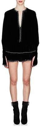 Saint Laurent Women's Ruffled-Hem Studded Velvet Dress - Black