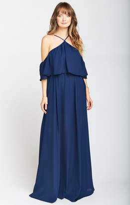 Show Me Your Mumu Rebecca Ruffle Maxi Dress ~ Rich Navy Crisp