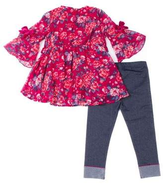 Little Lass Bell Sleeve Floral Chiffon Blouse & Knit Denim Jeans, 2-Piece Outfit Set (Baby Girls & Toddler Girls)
