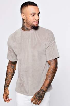 boohoo Drop Shoulder Velour T-Shirt