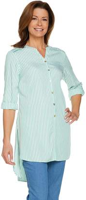 C. Wonder Striped Button Front Extra Long Tunic Blouse