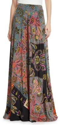 Etro Pop-Art Print Silk Maxi Skirt