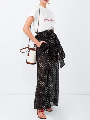 Alexandre Vauthier Polka dot print sheer flared trousers