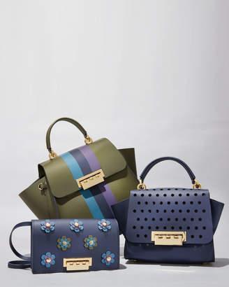 Zac Posen Earthette Floral Appliques Leather Crossbody Bag, Navy
