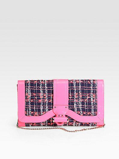 Milly Kiera Tweed & Patent Leather Clutch