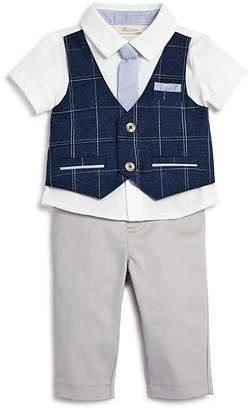 Miniclasix Boys' Plaid-Mock-Vest Shirt with Tie & Pants - Baby