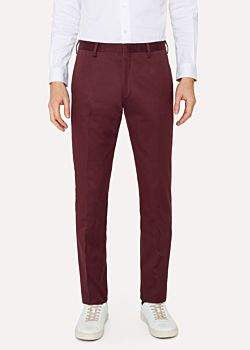 Paul Smith Men's Slim-Fit Burgundy Stretch-Cotton Twill Pants