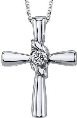 Sirena 1/10 CT. Diamond 14K White Gold Cross Pendant Necklace