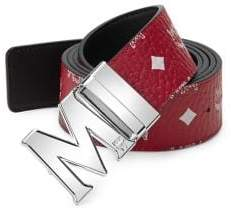 MCM Men's Logo-Print Belt - Red