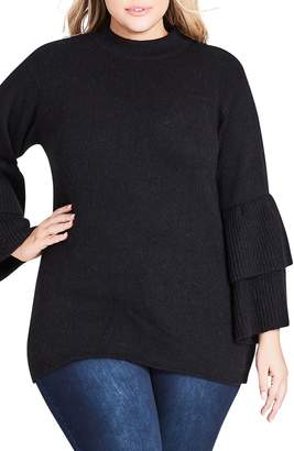 City Chic Tiered Sleeve Sweater