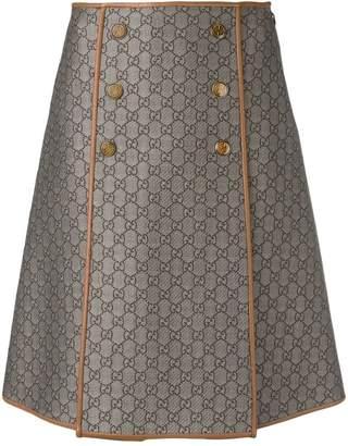 Gucci GG pattern a-line skirt