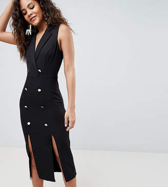 Asos Tall Design Tall Midi Tux Dress With Gold Buttons