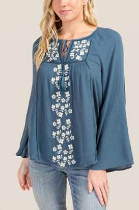 francesca's Corinne Embroidered Peasant Blouse - Dark Teal