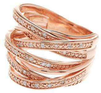 Savvy Cie 18K Rose Gold Vermeil Sterling Silver CZ Accent Stacked Band Ring