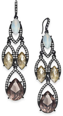 """INC International Concepts I.n.c. Extra Large Black-Tone Pave & Stone Chandelier Earrings, 3"""""""