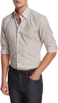 Ermenegildo Zegna Melange Striped Sport Shirt, Tan
