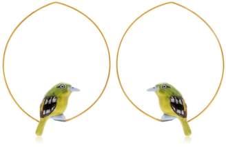 Nach Green Bird Hoop Earrings