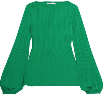 Maje - Plissé Crepe De Chine Top - Jade $210 thestylecure.com