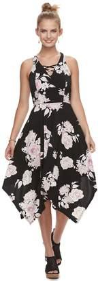 Candies Juniors' Candie's Lace-Up Hanky Hem Maxi Dress