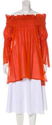 Thomas Wylde Off-The-Shoulder Ruched Tunic