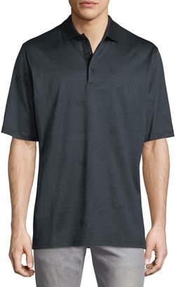 Bugatchi Mercerized-Knit Polo Shirt, Charcoal