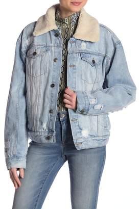 Free People Faux Fur Trimmed Denim Jacket