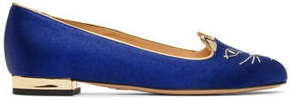 Charlotte Olympia SSENSE Exclusive Navy Satin Kitty Slippers