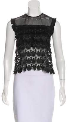 Alexis Embroidered Mesh Top