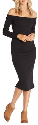 Billabong Off the Shoulder Rib Knit Midi Dress $49.95 thestylecure.com
