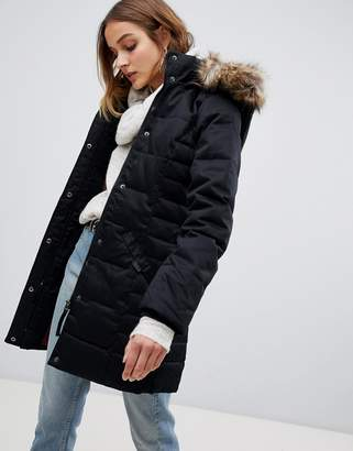 Vero Moda Padded 3/4 Length Coat With Faux Fur Trim