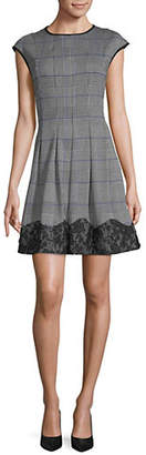 Gabby Skye Plaid Pleated Fit--Flare Dress