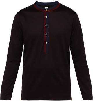 Paul Smith Placket Stripe Cotton Henley Top - Mens - Navy