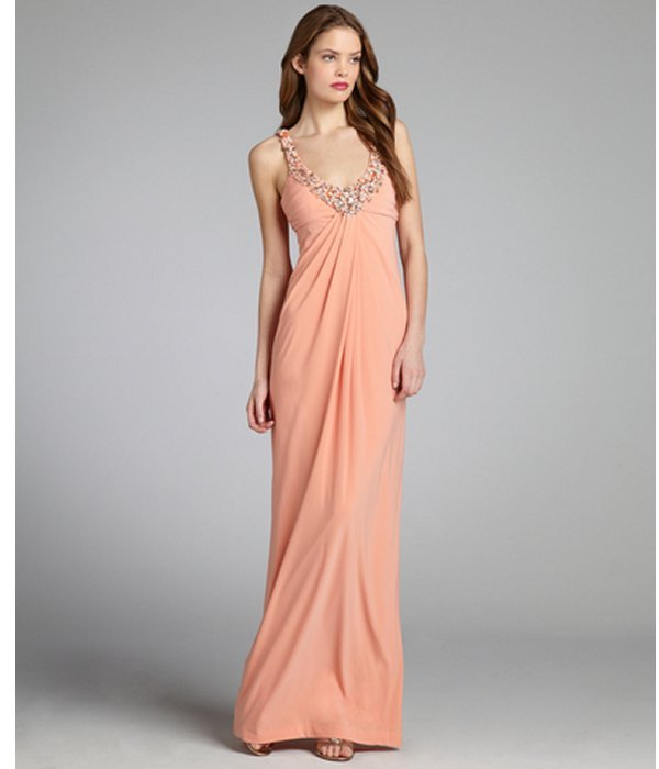 Mignon melon jersey knit pleated bead embellished v-neck gown