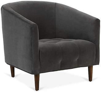 One Kings Lane Astrid Barrel Chair - Smoke Gray Velvet