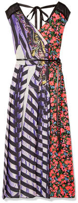 Marc Jacobs Tulle-trimmed Printed Shell And Satin-twill Midi Dress - Purple