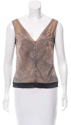 Alberta Ferretti Silk Embellished Top