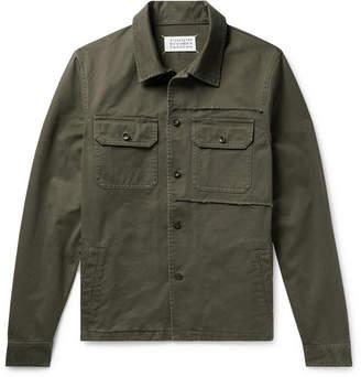 Maison Margiela Slim-Fit Distressed Cotton-Twill Overshirt - Men - Army green