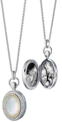Monica Rich Kosann Rock Crystal Oval Locket Necklace