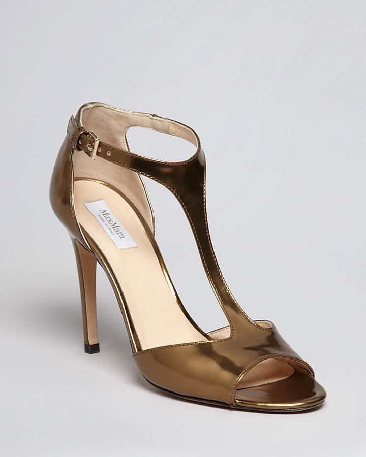 Max Mara Peep Toe T Strap Sandals - Camice High Heel